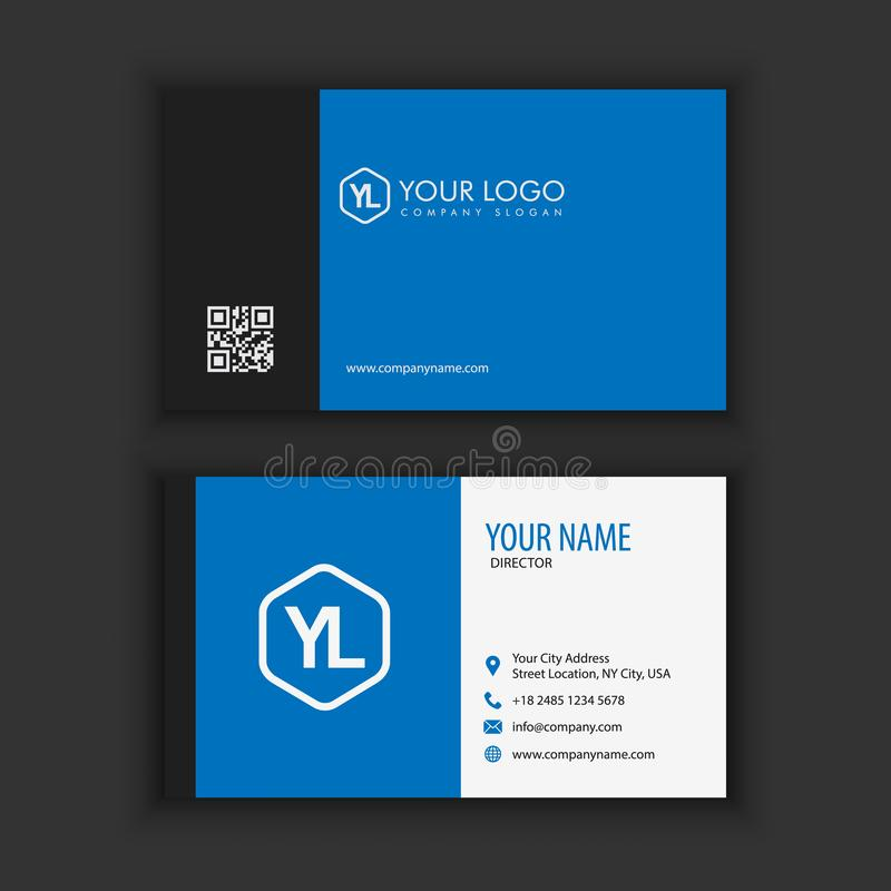 Modern Creative and Clean Business Card Template with blue dark. Color vector illustration