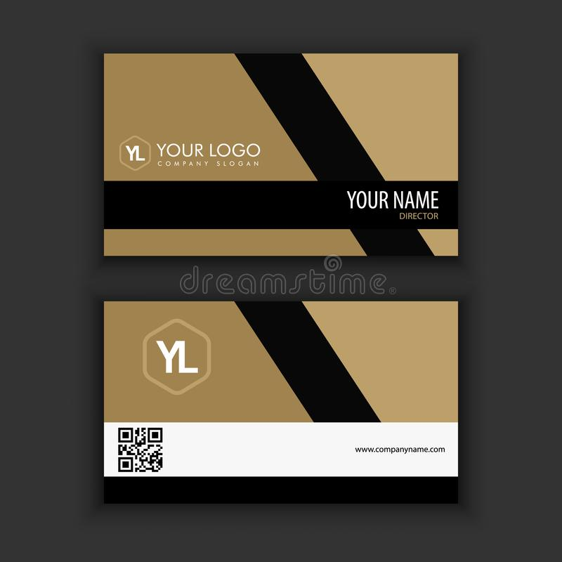 Modern Creative and Clean Business Card Template with gold black stock illustration