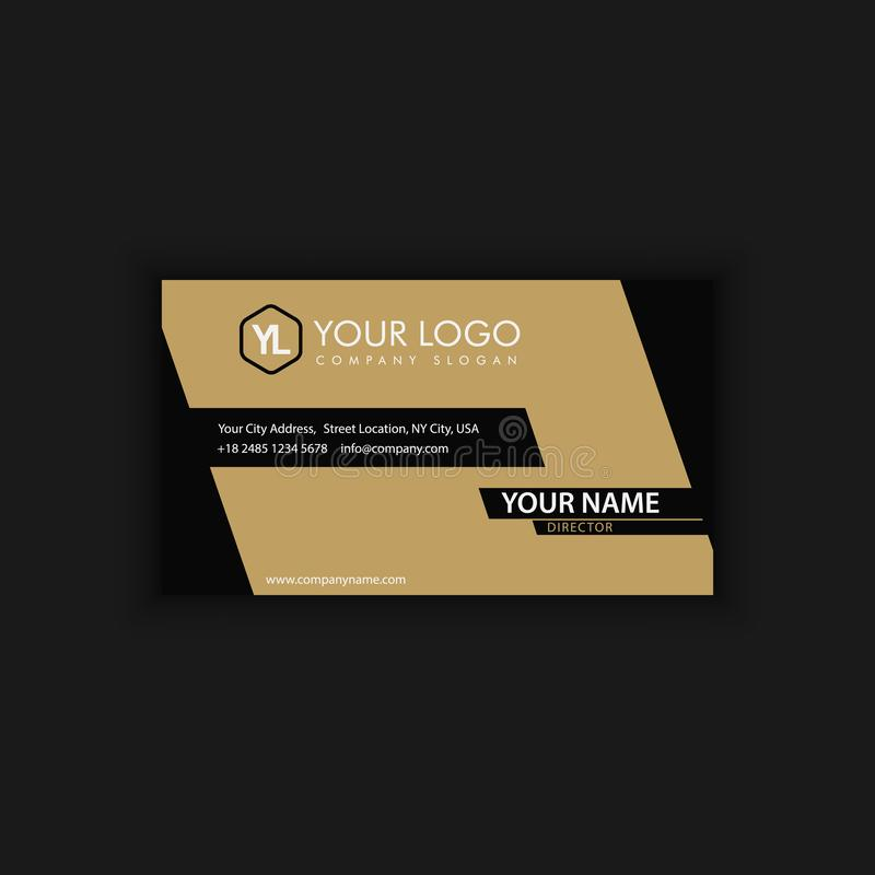 Modern Creative and Clean Business Card Template with gold dark. Color vector illustration