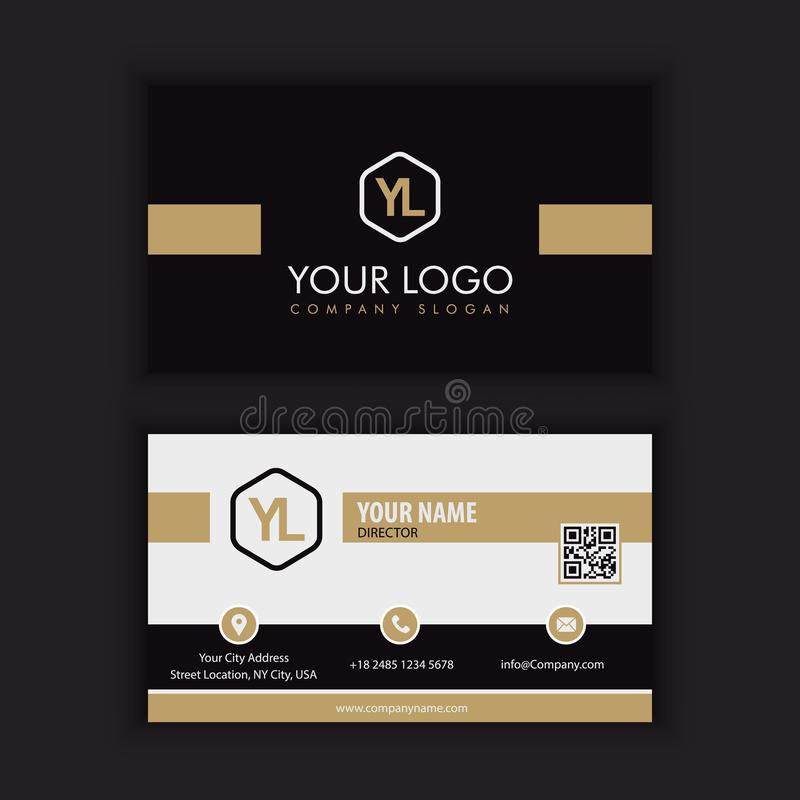 Modern Creative and Clean Business Card Template with gold dark. Color stock illustration