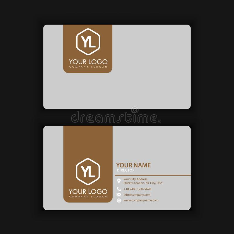 Modern Creative and Clean Business Card Template with gold grey. Color royalty free illustration