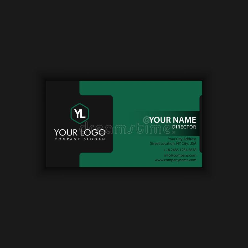 Modern Creative and Clean Business Card Template with green dark. Color vector illustration