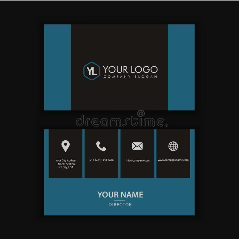Modern Creative and Clean Business Card Template. With blue dark color vector illustration