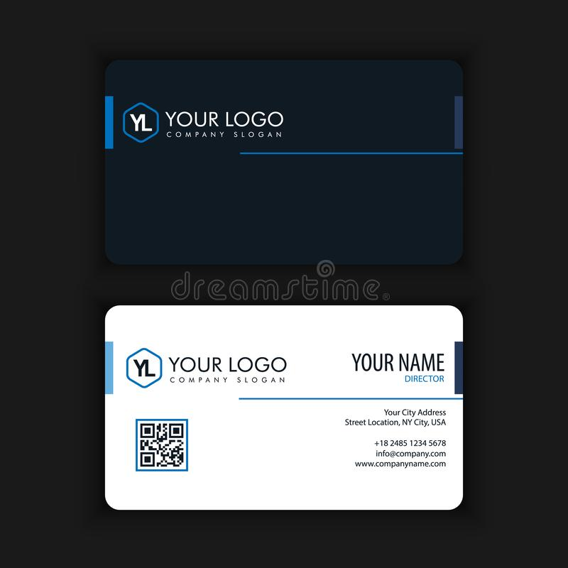 Modern Creative and Clean Business Card Template. With blue dark color stock illustration