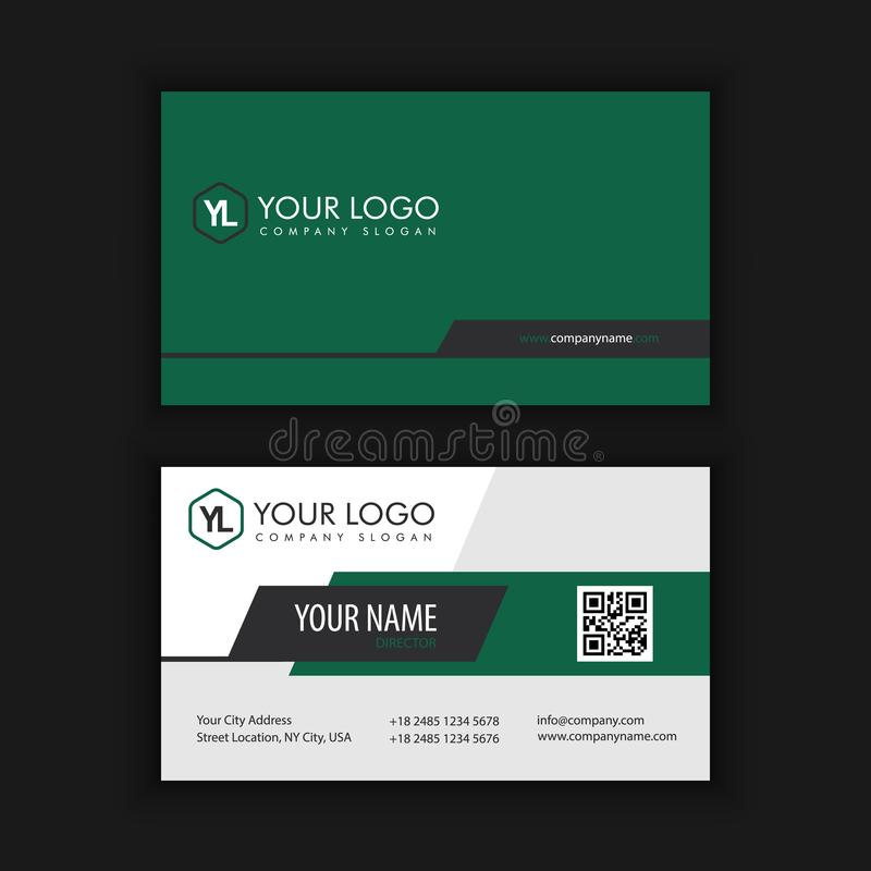 Modern Creative and Clean Business Card Template. With green dark color stock illustration