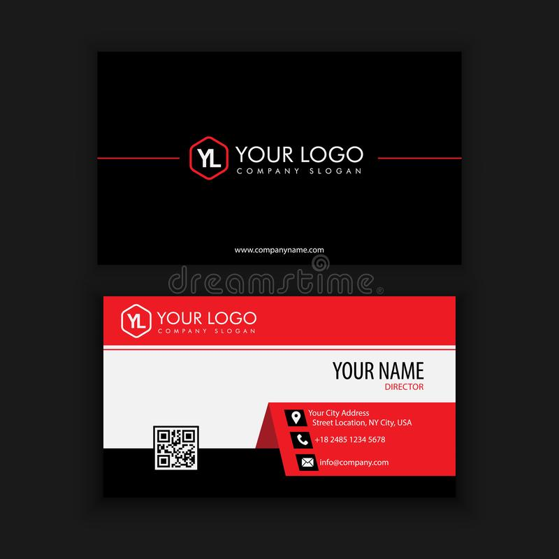 Modern Creative and Clean Business Card Template. With Red Black color stock illustration
