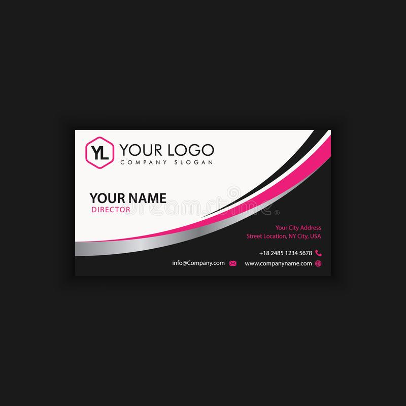 Modern Creative and Clean Business Card Template with pink black. Modern Creative and Clean Business Card Template with purple black color vector illustration