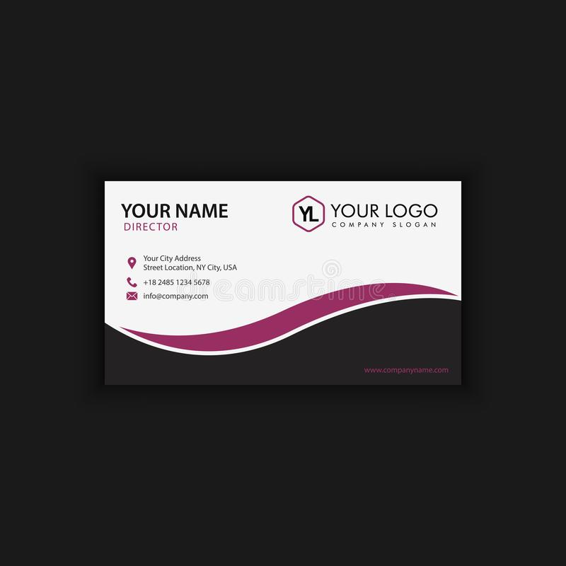 Modern Creative and Clean Business Card Template with purple black. Color vector illustration
