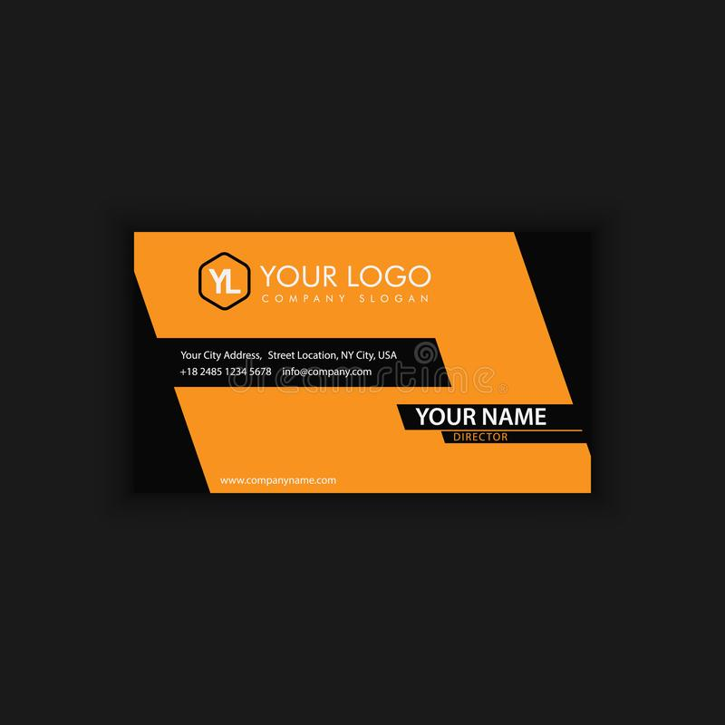 Modern Creative and Clean Business Card Template with yellow line. Color stock illustration