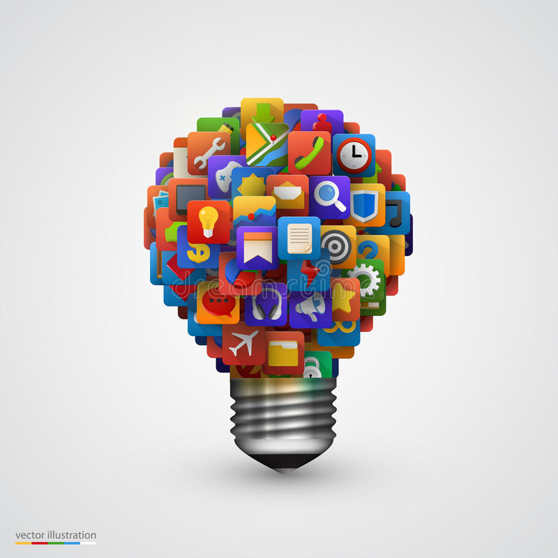 Modern creative light bulb with application icon. stock illustration