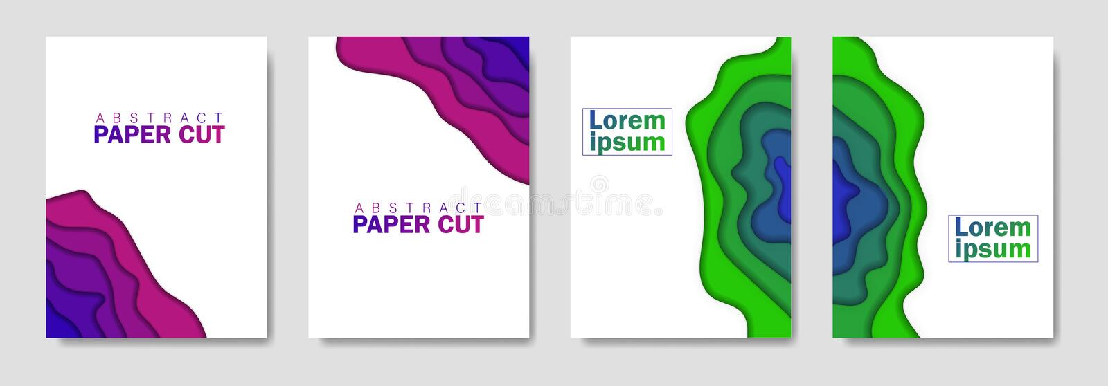 Modern creative set of posters with a 3d abstract background and paper cut shapes. Design layout, minimal template for flyers, web royalty free illustration