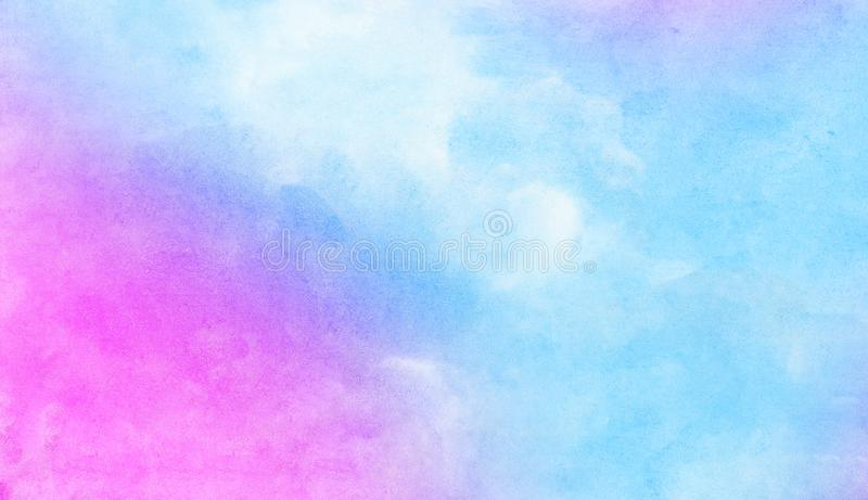 Modern creative smeared blue, purple and pink shades aquarelle background for vintage card, retro template. Watercolor paper textured ink effect grungy wet royalty free stock photography
