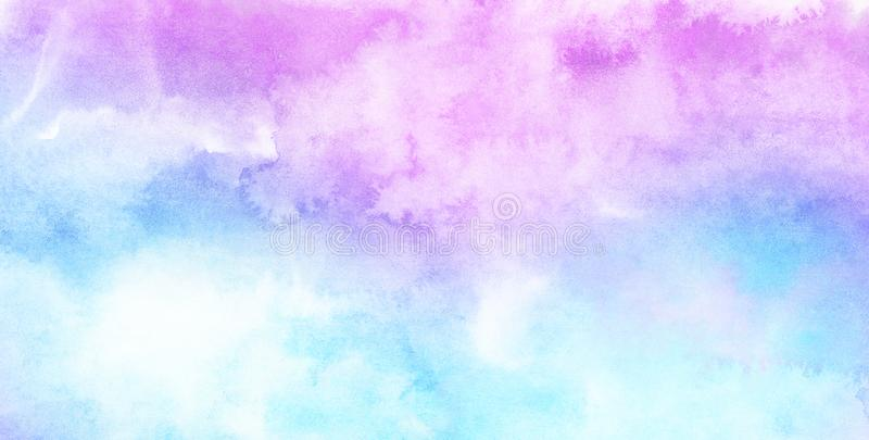Modern creative smeared blue, purple and pink shades aquarelle background for vintage card, retro template. Watercolor paper textured ink effect grungy wet royalty free stock photo