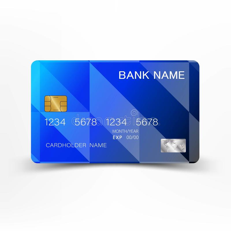Modern credit card template design. With inspiration from the line abstract. Blue and black color on gray background illustration. royalty free illustration