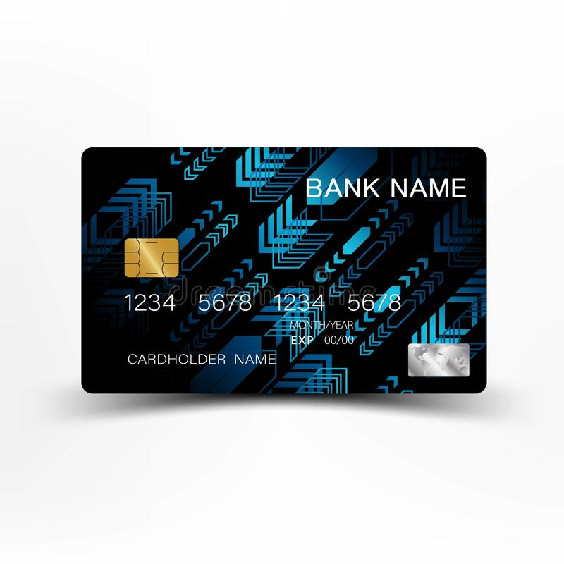 Modern credit card template design. With inspiration from the line abstract. Blue and black color on gray background illustration. stock illustration