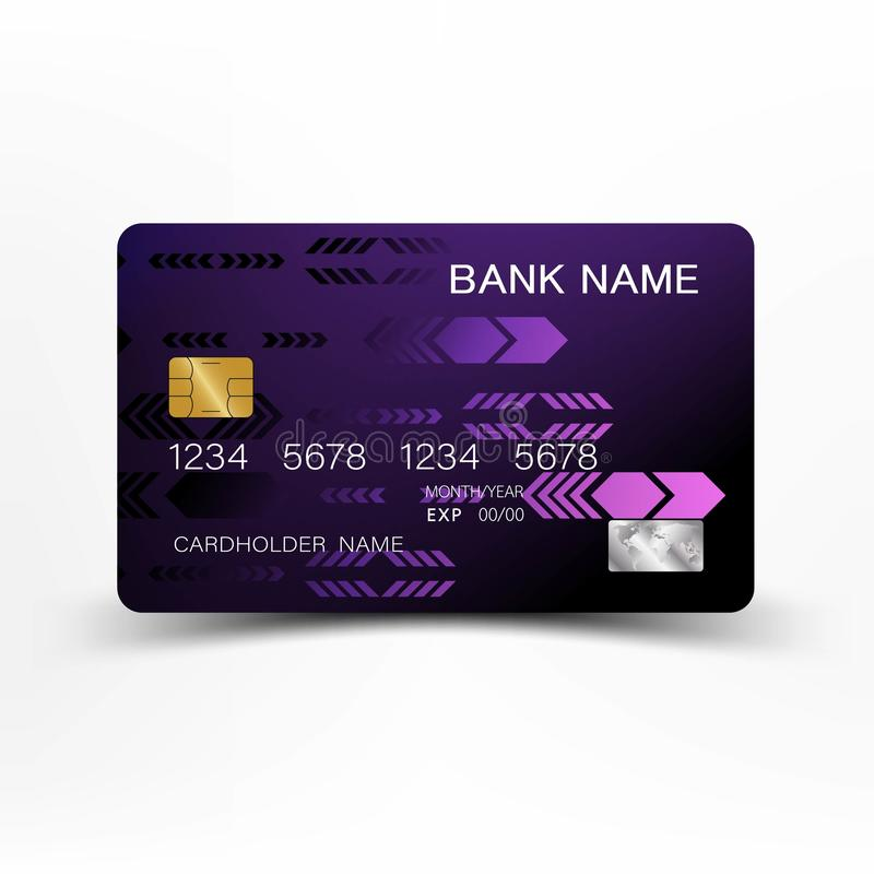 Modern credit card template design. With inspiration from the line abstract. Purple and black color on gray background illustratio stock illustration