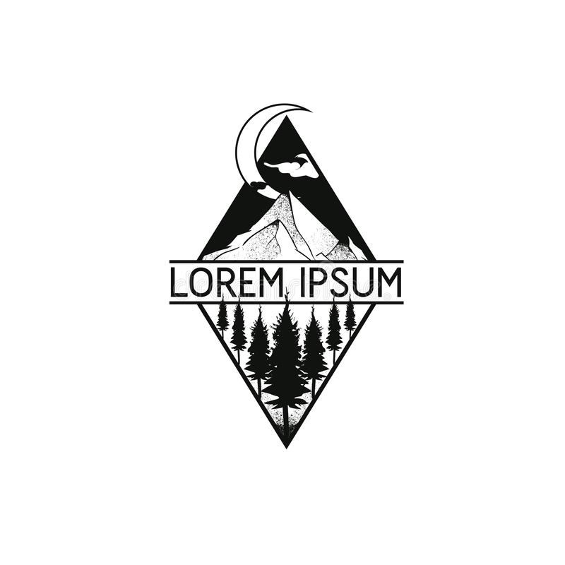 Modern Crescent moon forest and mountain vector logo template royalty free illustration