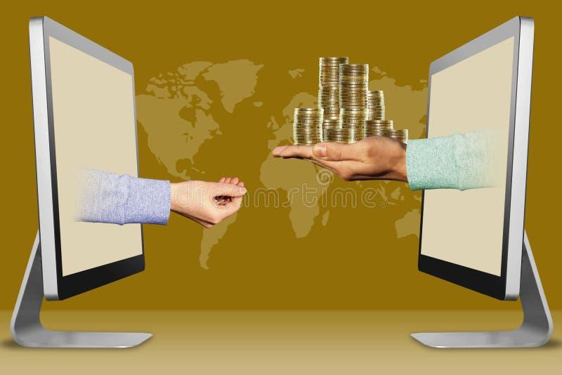Modern crowdfunding concept, twee handen van computers het pleiten van gebaar en muntstukken 3D Illustratie stock illustratie
