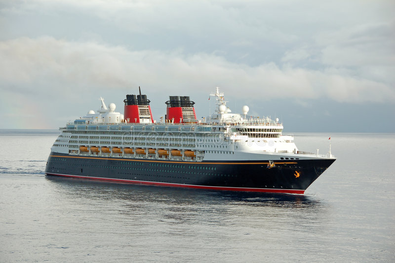 Modern cruise ship in port stock image