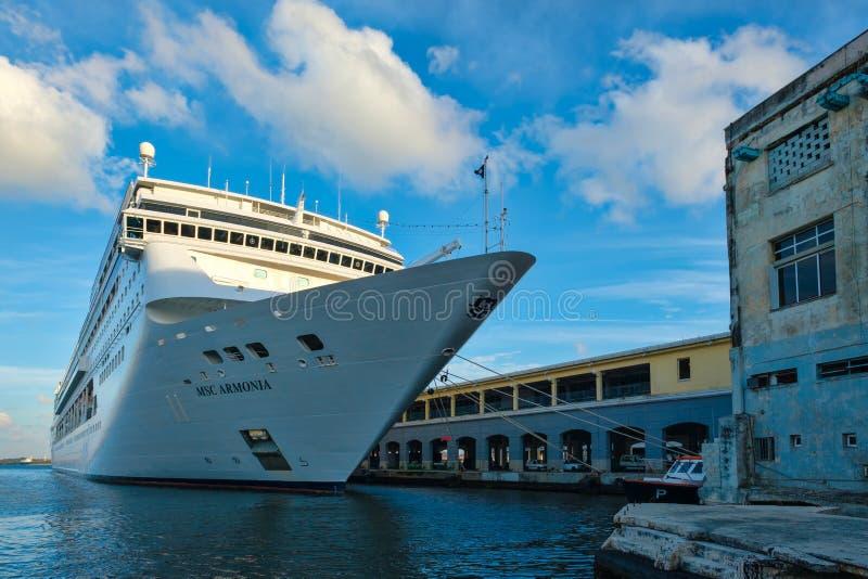 The modern cruiser ship MSC ARMONIA docked in the Port of Havana royalty free stock photography