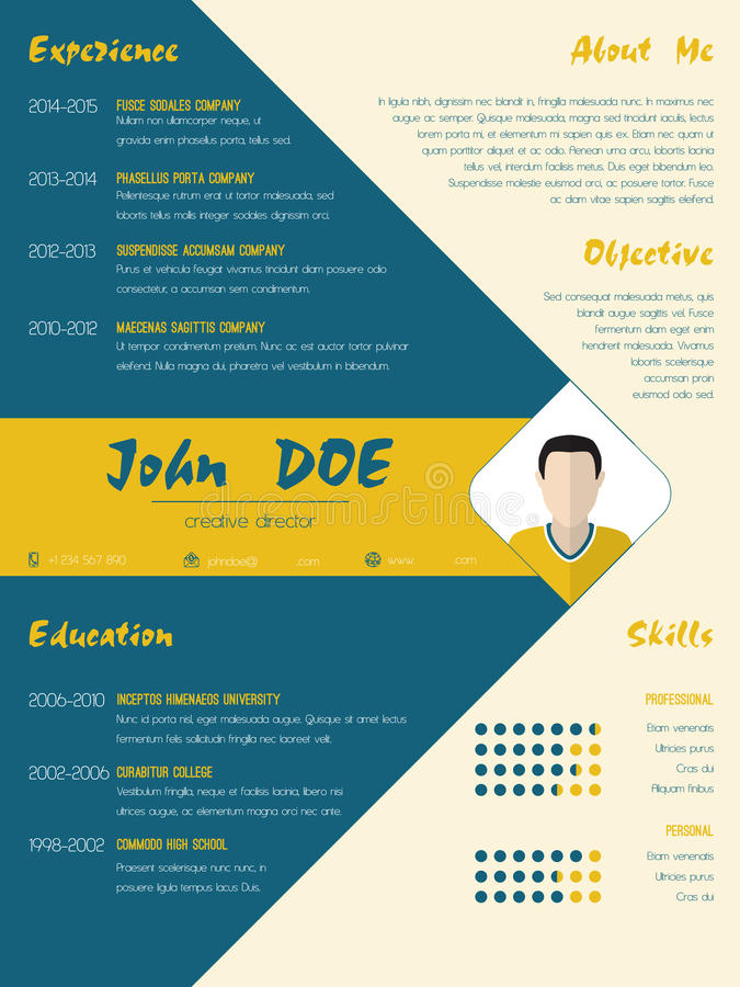 modern curriculum vitae cv resume template in blue and