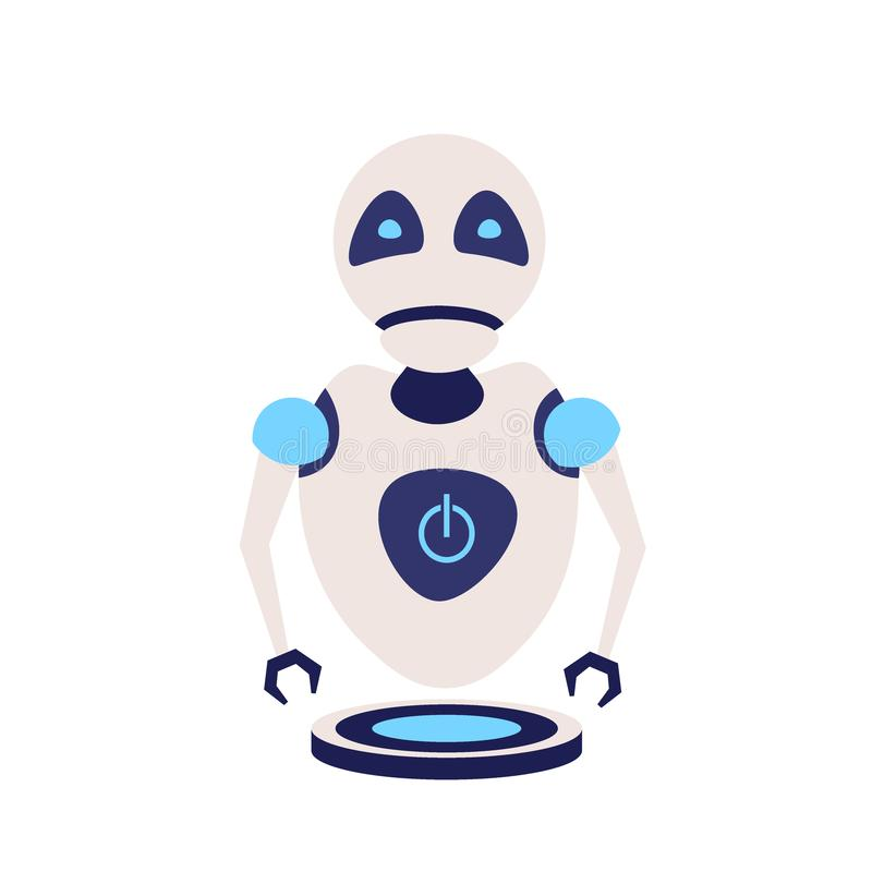 Modern cute robot artificial intelligence future technology assistance concept flat isolated royalty free illustration