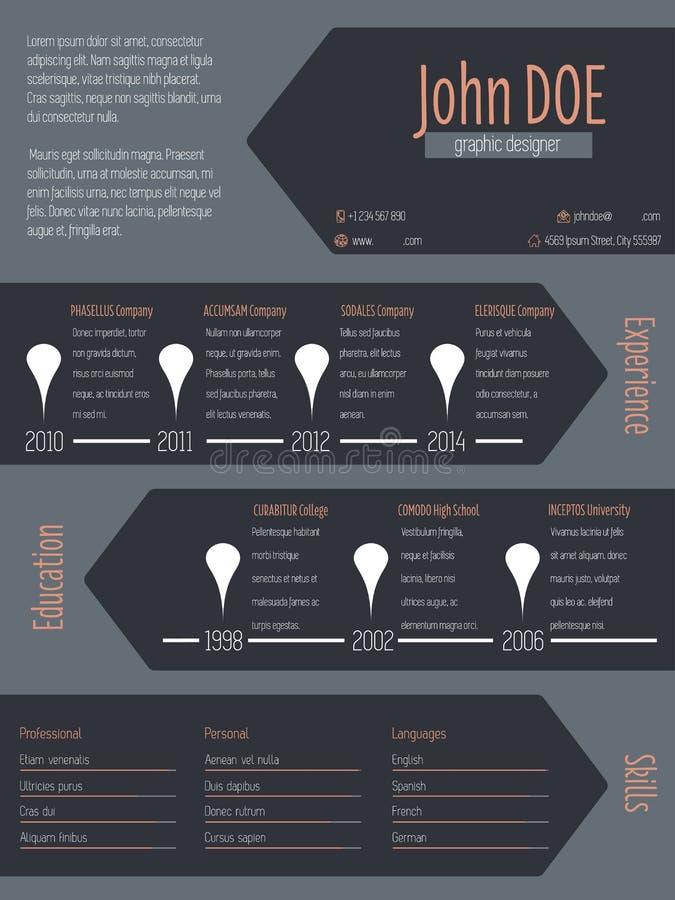 modern cv resume with cool dark arrows stock illustration