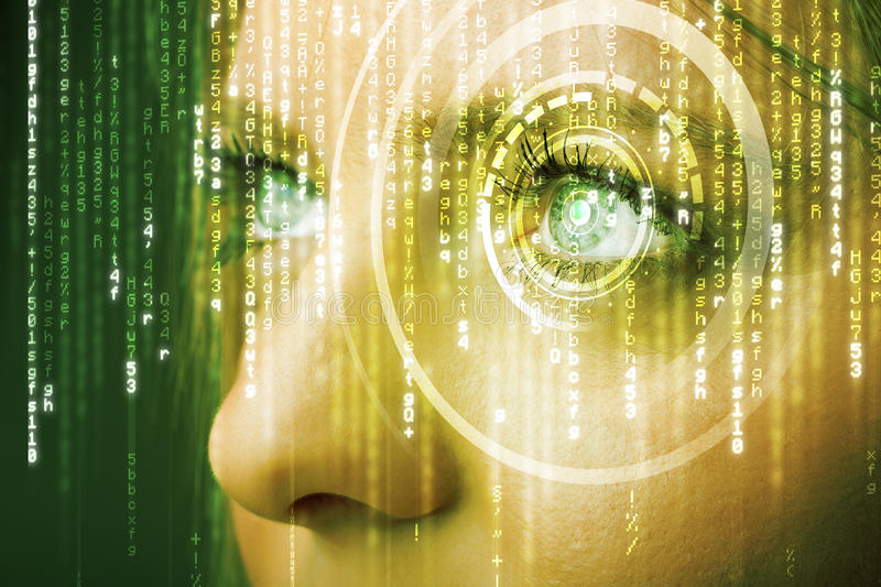 Modern cyber woman with matrix eye. Concept stock photo