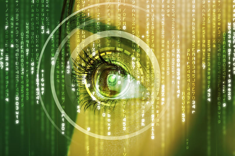 Modern cyber woman with matrix eye. Concept royalty free stock photography