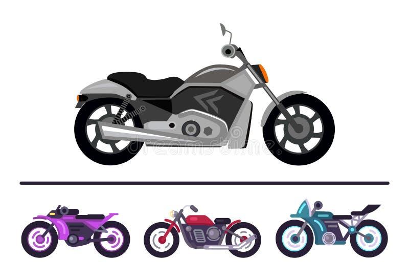 Modern cykeldesign Grey Scooter Set Motorbikes stock illustrationer