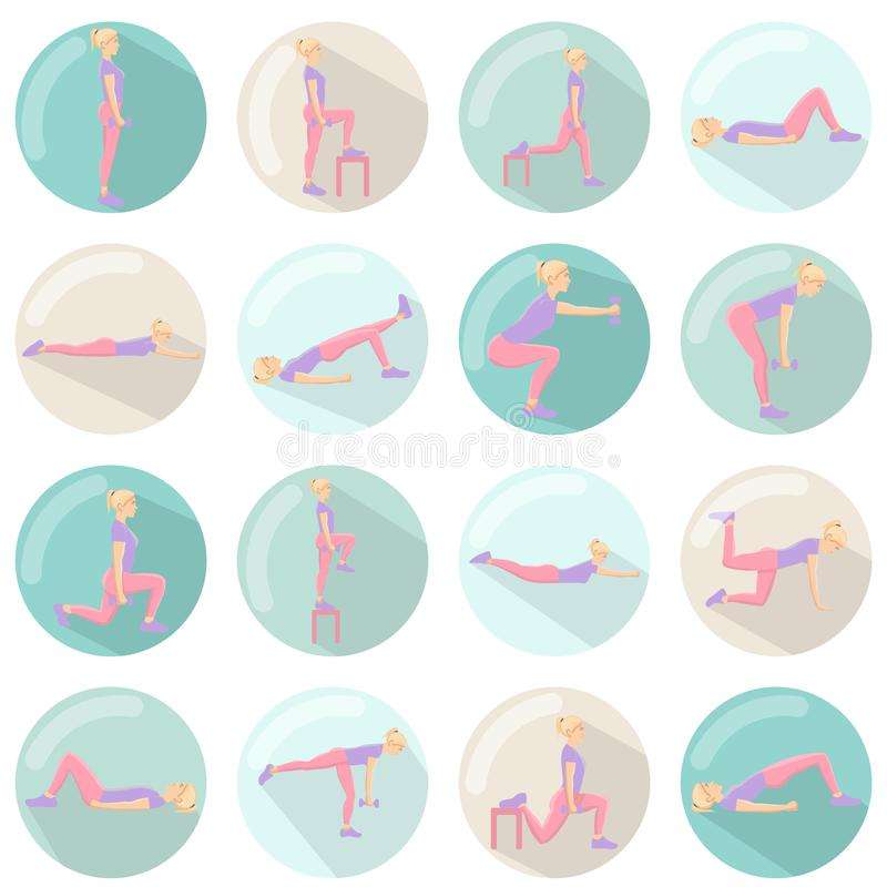 Modern 3d icons vector set with long shadow effect in stylish colors of glute exercises and workouts. Circle vector icons of glute. Modern 3d icons vector set stock illustration