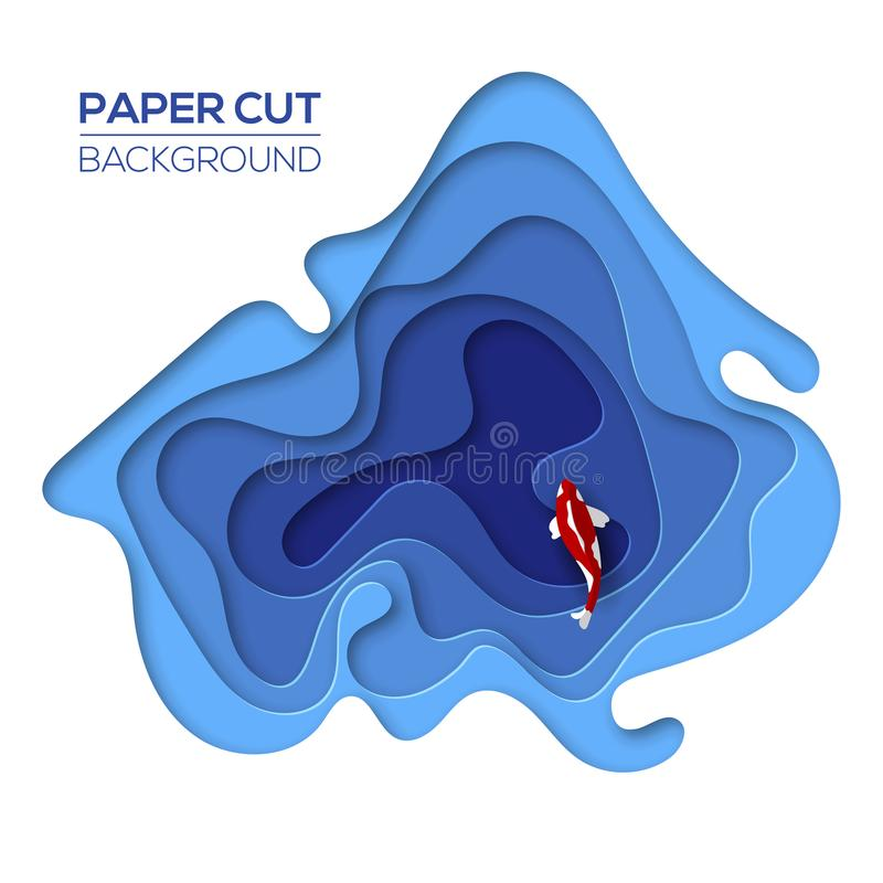 Modern 3d paper cut art design template stock illustration
