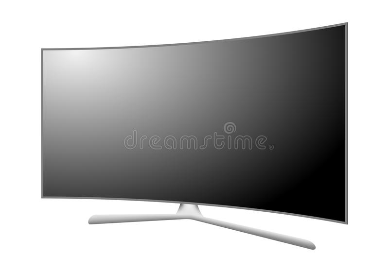 Modern 3D plasma TV with a curved screen. Off multimedia device with a stand with a black display with white reflection on white b vector illustration