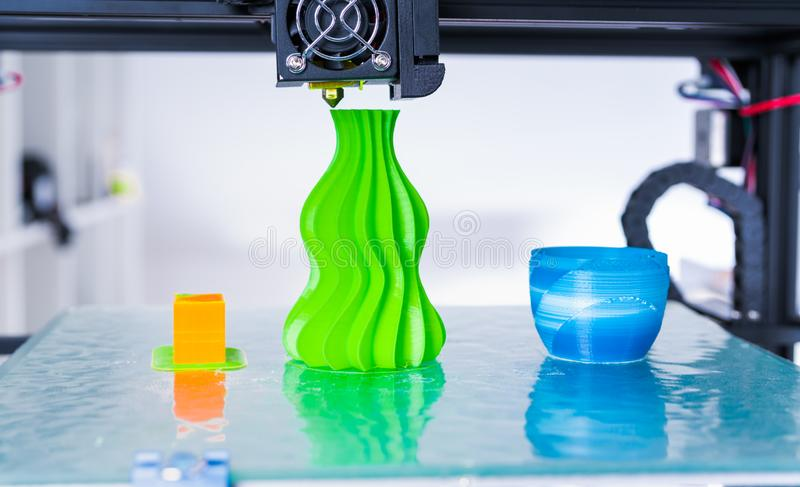Modern 3D printing. 3d printer mechanism working yelement design of the device during the processes. 3d printer mechanism working yelement design of the device royalty free stock photos