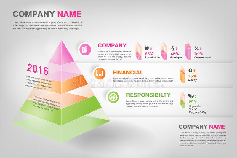 Modern 3d pyramid graph infographic in vector eps10. To display company's performance, comparison, financial ratio or Corporate Social Responsibility royalty free illustration