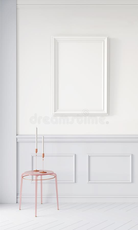 Modern 3d render mock up,  design for any purposes. Minimalistic background concept. Poster frame in interior stock photos