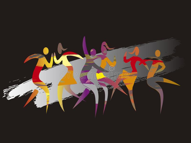 Modern dance, Disco dancers, dance party. stock illustration