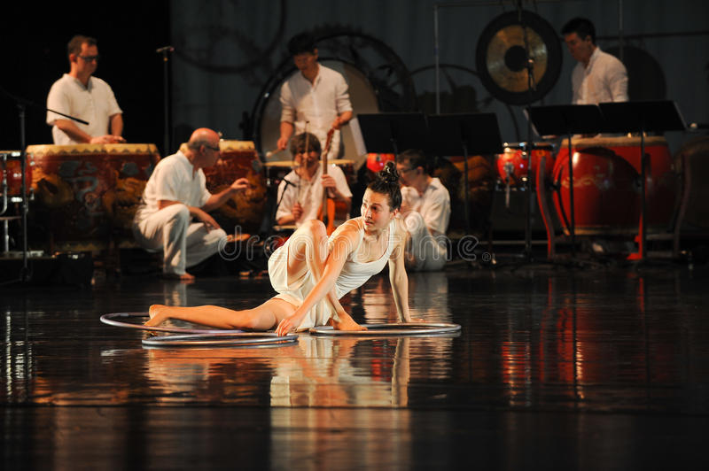 Modern dance and percussion band stock image