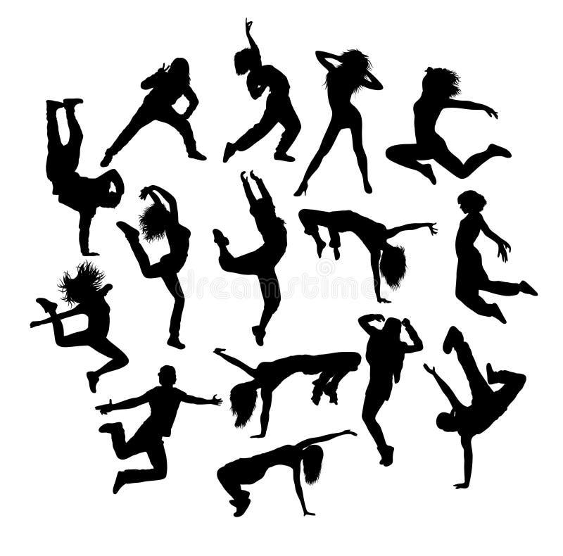 Modern Dancer Activity Silhouettes stock illustration