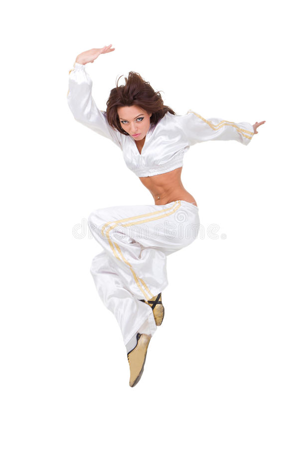 Modern dancer jumping. Against isolated white background royalty free stock photo