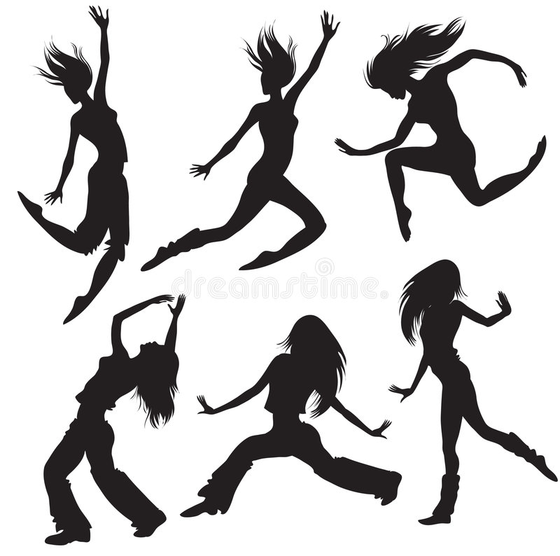 Modern Dancers Silhouette Royalty Free Stock Photo