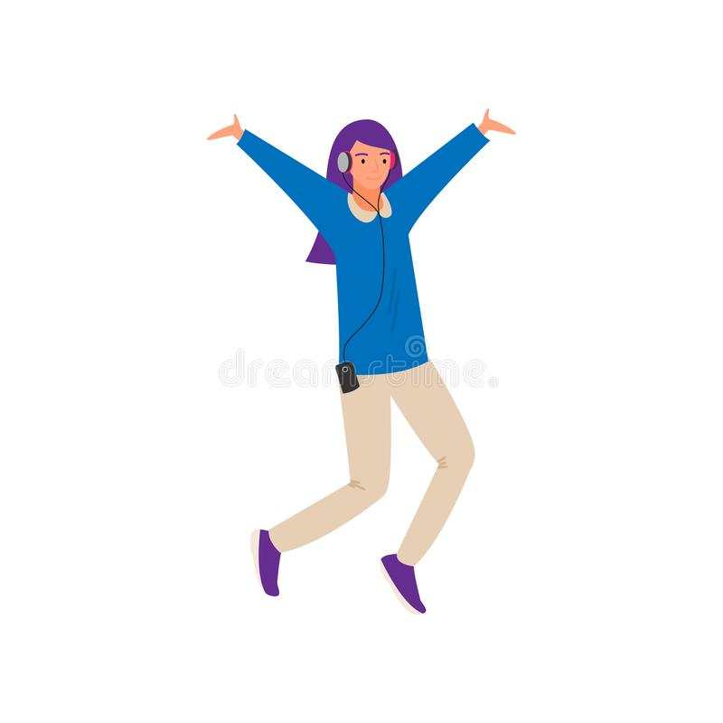 Modern dancing young girl with violet color hair stock illustration