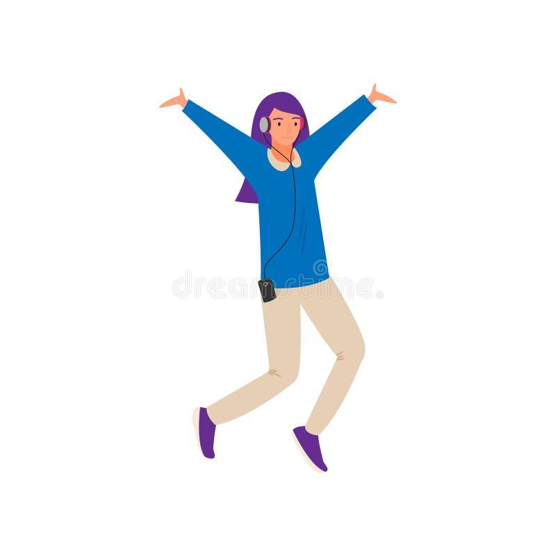 Modern dansa ung flicka med violett f?rgh?r stock illustrationer