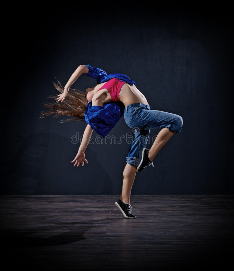Modern dansare för ung flicka (mörk ver) arkivfoto
