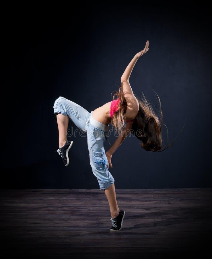 Modern dansare för ung flicka (normal ver) fotografering för bildbyråer