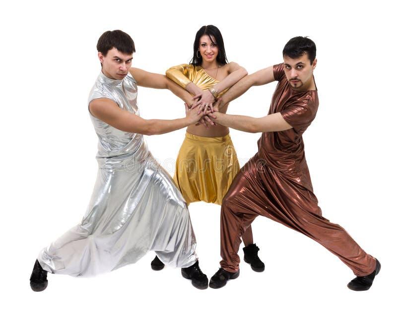 Modern dansarelagdans som isoleras på den vita oavkortade längden royaltyfri fotografi