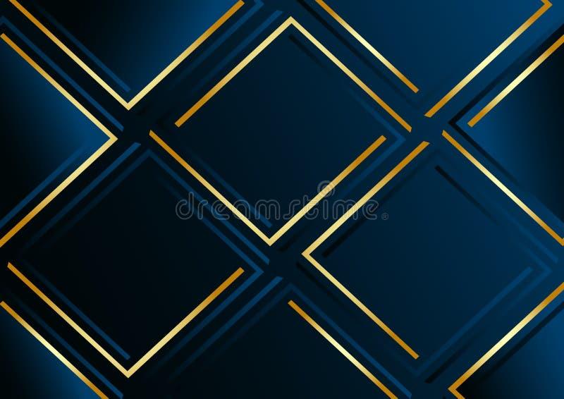 Modern dark blue geometric background with golden lines. Vector. Illustration stock illustration