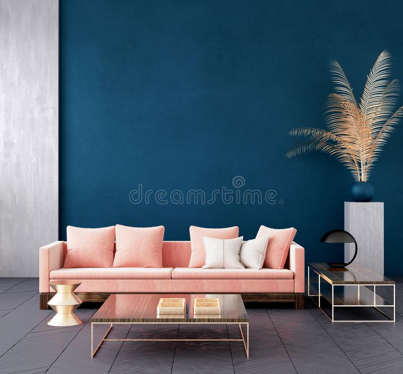 Modern dark blue living room interior with pink color couch and golden decor,wall mock up. 3d render royalty free illustration