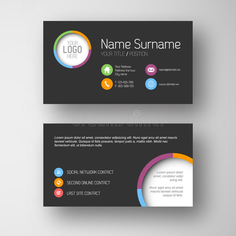 Free Modern Dark Business Card Template Royalty Free Stock Images - 38806709