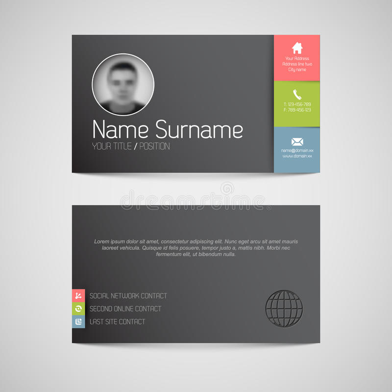 Modern dark business card template with flat user interface stock download modern dark business card template with flat user interface stock vector illustration of interface colourmoves Choice Image